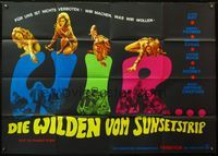 4d021 RIOT ON SUNSET STRIP German 33x47 movie poster '67 crazy pot-partygoers, sexy images of girl!