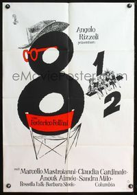 4d030 8 1/2 German movie poster '63 Federico Fellini classic, cool art of director chair & girls!