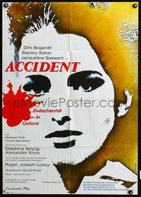 4d032 ACCIDENT German poster '67 Joseph Losey, written by Harold Pinter, sexy Jacqueline Sassard!