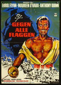 4d033 AGAINST ALL FLAGS German movie poster R60s cool artwork of pirate Errol Flynn & ship battle!