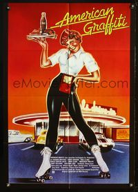 4d036 AMERICAN GRAFFITI German poster '73 George Lucas teen classic, it was the time of your life!