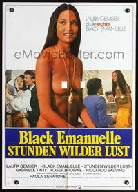 4d052 EMANUELLE IN AMERICA German movie poster '75 Emanuelle Nera, sexy close-up of Laura Gemser!