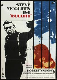 4d060 BULLITT German movie poster '69 great image of Steve McQueen, Peter Yates car chase classic!