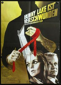 4d061 BUNNY LAKE IS MISSING German poster '65 Otto Preminger, really cool artwork of killer w/tie!