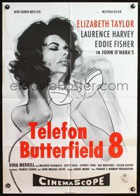 4d062 BUTTERFIELD 8 German movie poster R60s artwork of sexy callgirl Elizabeth Taylor!