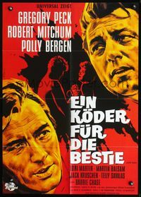 4d064 CAPE FEAR German movie poster R80s great Hans Branin art of Gregory Peck & Robert Mitchum!