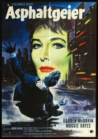 4d065 CASE AGAINST BROOKLYN German poster '58 Margaret Hayes, really cool art of city at night!