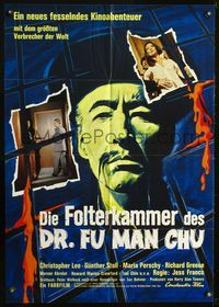 4d066 CASTLE OF FU MANCHU German poster '69 cool art of Asian villain Christopher Lee, Jess Franco