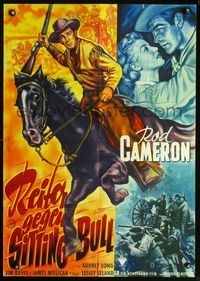 4d067 CAVALRY SCOUT German movie poster '51 cool Bonne art of Rod Cameron on horseback!