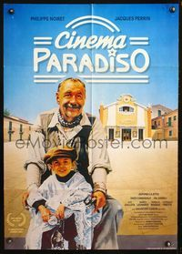 4d072 CINEMA PARADISO German poster '89 Giuseppe Tornatore, great image of Philippe Noiret & Perrin!