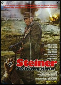 4d079 CROSS OF IRON German movie poster R80 Sam Peckinpah, cool image of dirty soldier James Coburn!