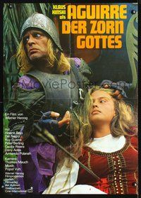 4d034 AGUIRRE, THE WRATH OF GOD German movie poster '72 great image of medieval Klaus Kinski!