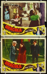 4g199 DRACULA 2 lobby cards R51 Tod Browning, border image of vampire Bela Lugosi, horror classic!