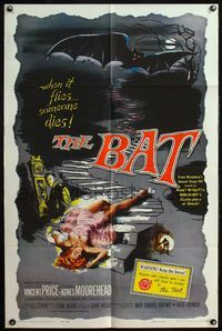 4h100 BAT 1sh '59 great horror art of Vincent Price & sexy fallen girl!