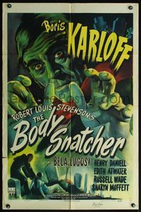 4h007 BODY SNATCHER signed style A 1sh '45 by Robert Wise, cool art of Boris Karloff!