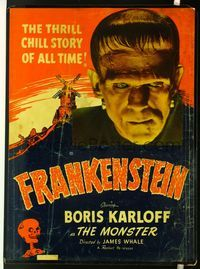 4r042 FRANKENSTEIN 30x40 R51 wonderful close up image of Boris Karloff as the monster!