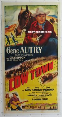 4r077 COW TOWN linen 3sh '50 cowboy Gene Autry riding Champion, they foil rustlers with barbed wire!