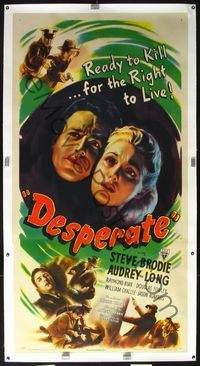 4r078 DESPERATE linen 3sh '47 Brodie & Audrey Long kill for the right to live, Anthony Mann noir!