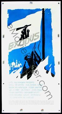 4r080 EXODUS linen 3sh '61 Otto Preminger, cool completely different flag art by Saul Bass!