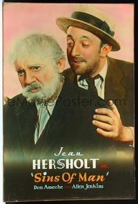 4r061 SINS OF MAN Meloy Bros. 40x60 '36 close up of ultra sad aged Jean Hersholt with Allen Jenkins!