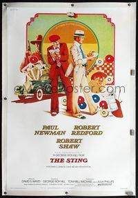 4r054 STING linen 40x60 '74 completely different art of Paul Newman & Robert Redford by Charles Moll