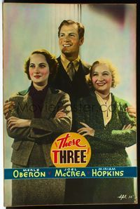 4r062 THESE THREE Meloy Bros. 40x60 '36 smiling portrait of Hopkins, Merle Oberon & Joel McCrea!