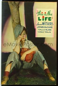 4r063 THIS IS THE LIFE Meloy Bros. 40x60 '35 portrait of sad runaway Jane Withers disguised as boy!