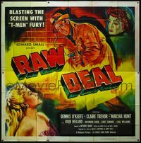 4r007 RAW DEAL 6sh '48 Anthony Mann, art of Dennis O'Keefe with gun & sexy bad girl Claire Trevor!