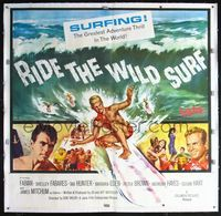 4r004 RIDE THE WILD SURF linen 6sh '64 Fabian, ultimate poster for surfers to display on their wall!