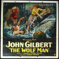 4r006 WOLF MAN linen 6sh '24 stone litho of Norma Shearer & John Gilbert in river rapids by wolf!