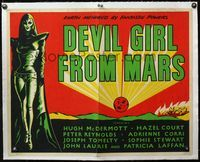 4r029 DEVIL GIRL FROM MARS linen Eng 1/2sh '55 Earth menaced by fantastic powers, sexy female alien!