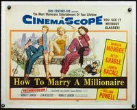 4r031 HOW TO MARRY A MILLIONAIRE linen 1/2sh '53 sexy Marilyn Monroe, Betty Grable & Lauren Bacall!