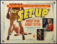 4r040 SET-UP linen style B 1/2sh '49 great image of boxer Robert Ryan knocked to the ground!