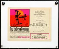 4r046 ENDLESS SUMMER linen special 8.5x11 poster '67 Bruce Brown surfing, art of surfers on beach!