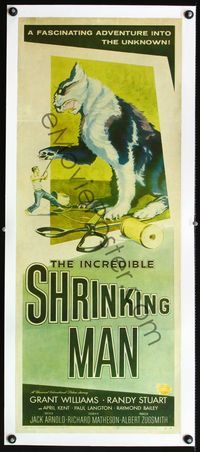 4r009 INCREDIBLE SHRINKING MAN linen insert '57 best art of Williams fighting cat with scissors!