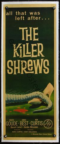 4r010 KILLER SHREWS linen insert '59 classic art of all that was left after the monster attack!