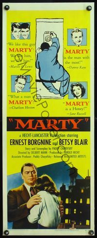 4r018 MARTY linen insert '55 directed by Delbert Mann, Ernest Borgnine, written by Paddy Chayefsky!