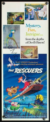 4r020 RESCUERS insert '77 Disney mouse mystery adventure cartoon from the depths of Devil's Bayou!