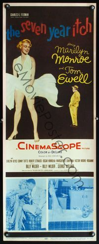 4r012 SEVEN YEAR ITCH insert '55 Billy Wilder, sexiest art of Marilyn Monroe with skirt blowing!