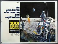 4r052 2001: A SPACE ODYSSEY linen Cinerama subway poster '68 Kubrick, art of astronauts by McCall!