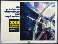 4r051 2001: A SPACE ODYSSEY linen Cinerama subway poster '68 Kubrick, art of space wheel by McCall!