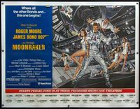 4r053 MOONRAKER linen subway poster '79 art of Roger Moore as James Bond & sexy babes by Gouzee!