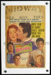 4r045 BRIBE linen WC '49 Robert Taylor, sexy young Ava Gardner, Charles Laughton, Vincent Price
