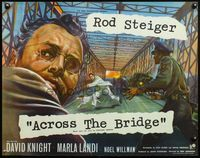 4v506 ACROSS THE BRIDGE English 1/2sh '58 close-up art of Rod Steiger, running for his life!