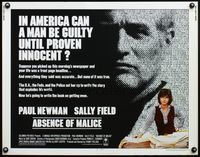 4v505 ABSENCE OF MALICE 1/2sh '81 Paul Newman, Sally Field, Sydney Pollack, cool design!