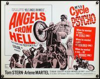 4v521 ANGELS FROM HELL 1/2sh '68 AIP, image of motorcycle-psycho biker, he's a cycle psycho!