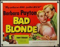 4v535 BAD BLONDE 1/2sh '53 classic sexy bad girl image, they called me bad...spelled M-E-N!