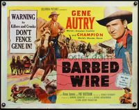 4v541 BARBED-WIRE 1/2sh '52 action image of Gene Autry & Champion, don't fence Gene in!