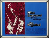 4v549 BEGUILED 1/2sh '71 cool psychedelic art of Clint Eastwood & Geraldine Page, Don Siegel