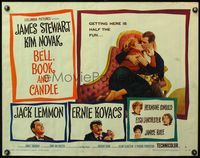 4v550 BELL, BOOK & CANDLE style B 1/2sh '58 James Stewart kissing sexiest witch Kim Novak!